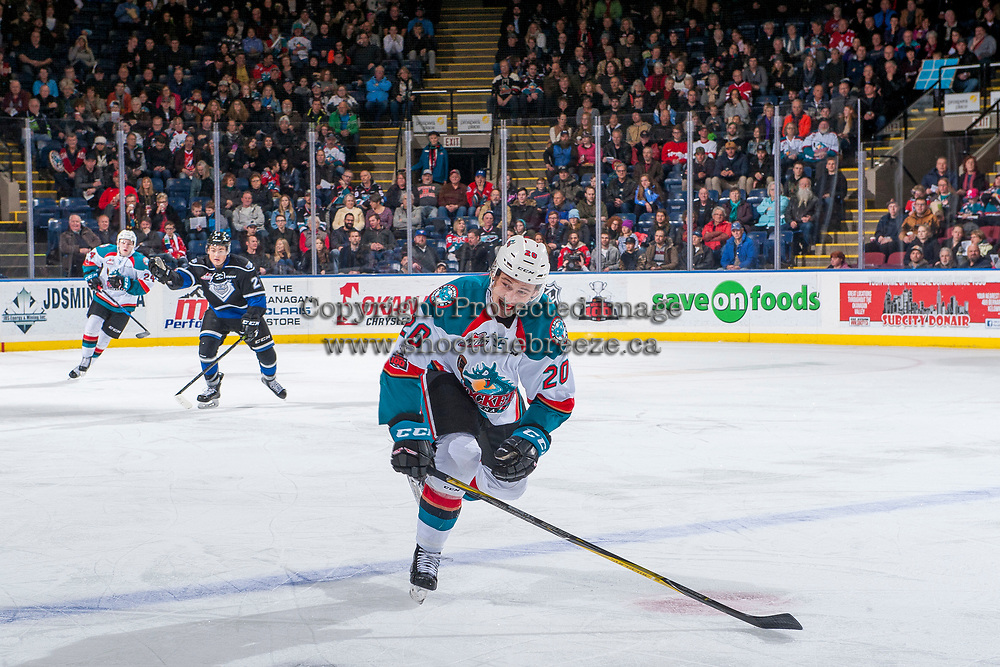 KELOWNA, CANADA - DECEMBER 30: Conner Bruggen-Cate #20 of the Kelowna Rockets skates over the blue line against the Victoria Royals on December 30, 2017 at Prospera Place in Kelowna, British Columbia, Canada.  (Photo by Marissa Baecker/Shoot the Breeze)  *** Local Caption ***