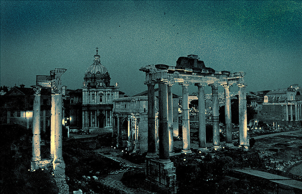 The Roman Forum in Rome, Italy at early evening.