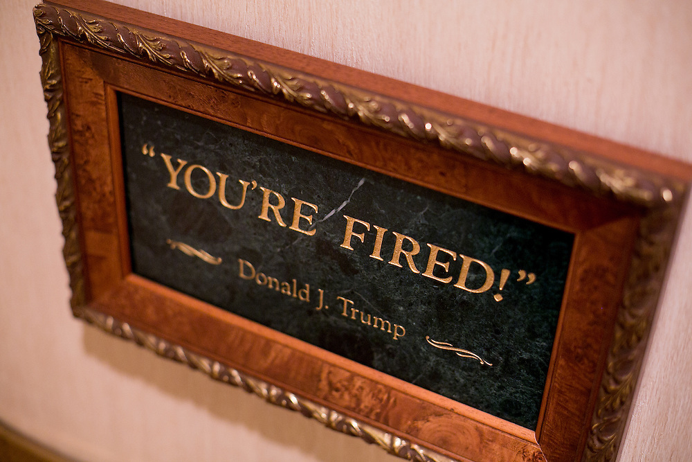 "NEW YORK, NY - JUNE 10, 2016: Ephemera from presidential candidate Donald J. Trump's time on the television program ""The Apprentice"" hangs on the walls of The Trump Organization's offices in Trump Tower in New York, New York. CREDIT: Sam Hodgson for The New York Times."
