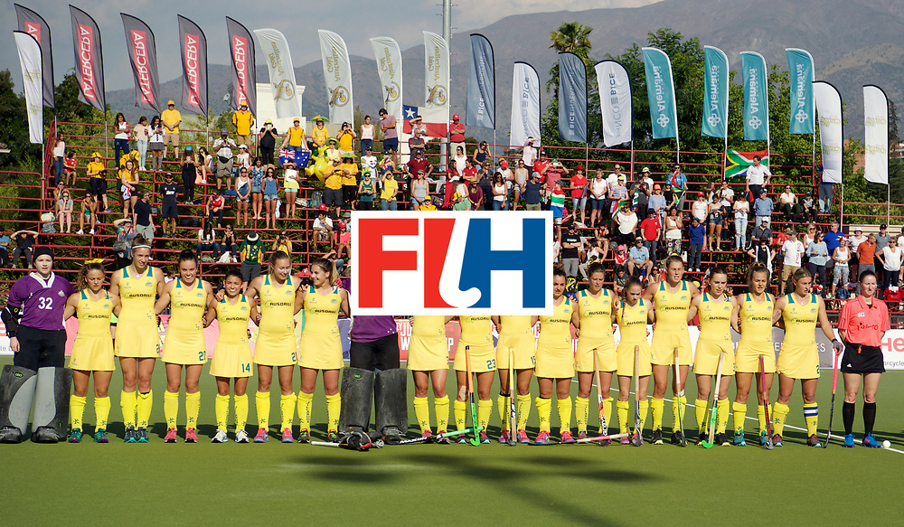 SANTIAGO - 2016 8th Women's Hockey Junior World Cup<br /> AUS v RSA (Pool C)<br /> foto: Line off the team.<br /> FFU PRESS AGENCY COPYRIGHT FRANK