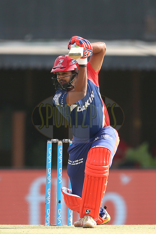 Shreyas Iyer of the Delhi Daredevils drives a delivery through the covers to the boundary during match 36 of the Vivo 2017 Indian Premier League between the Kings XI Punjab and the Delhi Daredevils held at the Punjab Cricket Association IS Bindra Stadium in Mohali, India on the 30th April 2017<br /> <br /> Photo by Shaun Roy - Sportzpics - IPL