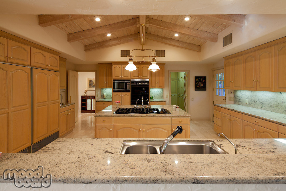 Contemporary kitchen counter in luxury house