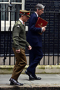 © Licensed to London News Pictures. 01/05/2012. London, UK . Chief of the Defence Staff Sir David Richards (L) and Defence Secretary Philip Hammond. Cabinet ministers in Downing Street for the Cabinet Meeting on 1st May 2012. Photo credit : Stephen Simpson/LNP
