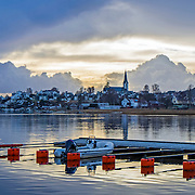 Lillesand in Norway in light snowcover.