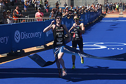 Lucy Hall of Great Britain beats Jessica Learmonth of Great Britain to the finish line to win the Discovery Triathlon World Cup Cape Town Elite Race during the Elite Women race of the Discovery Triathlon World Cup Cape Town leg held at Green Point in Cape Town, South Africa on the 11th February 2017.<br /> <br /> Photo by Shaun Roy/RealTime Images