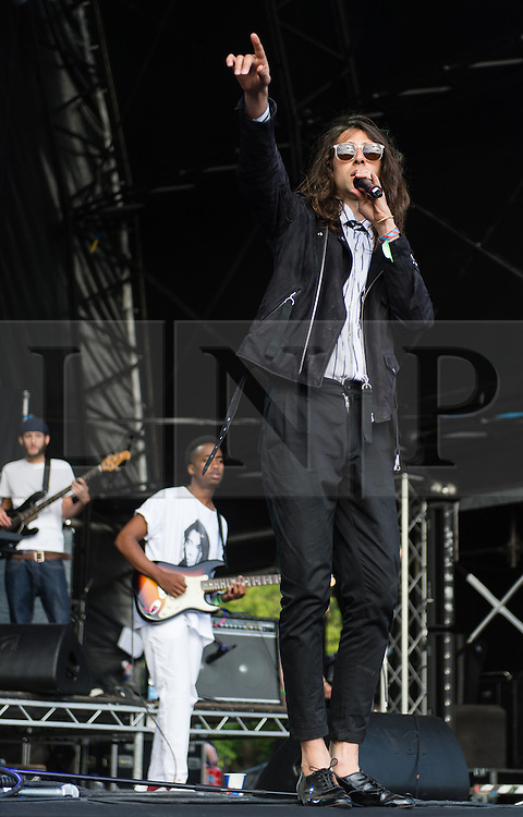 © Licensed to London News Pictures. 06/06/2015. London, UK.   Kindness performing live at Field Day Festival Saturday Day 1.   Kindness is the solo project of British singer Adam Bainbridge.  Photo credit : Richard Isaac/LNP