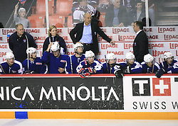 Head Coach of Slovenia Mats Waltin at ice-hockey match Slovenia vs Latvia at Preliminary Round (group B) of IIHF WC 2008 in Halifax, on May 06, 2008 in Metro Center, Halifax, Nova Scotia, Canada. Latvia won 3:0. (Photo by Vid Ponikvar / Sportal Images)Slovenia played in old replika jerseys from the year 1966, when Yugoslavia hosted the World Championship in Ljubljana.