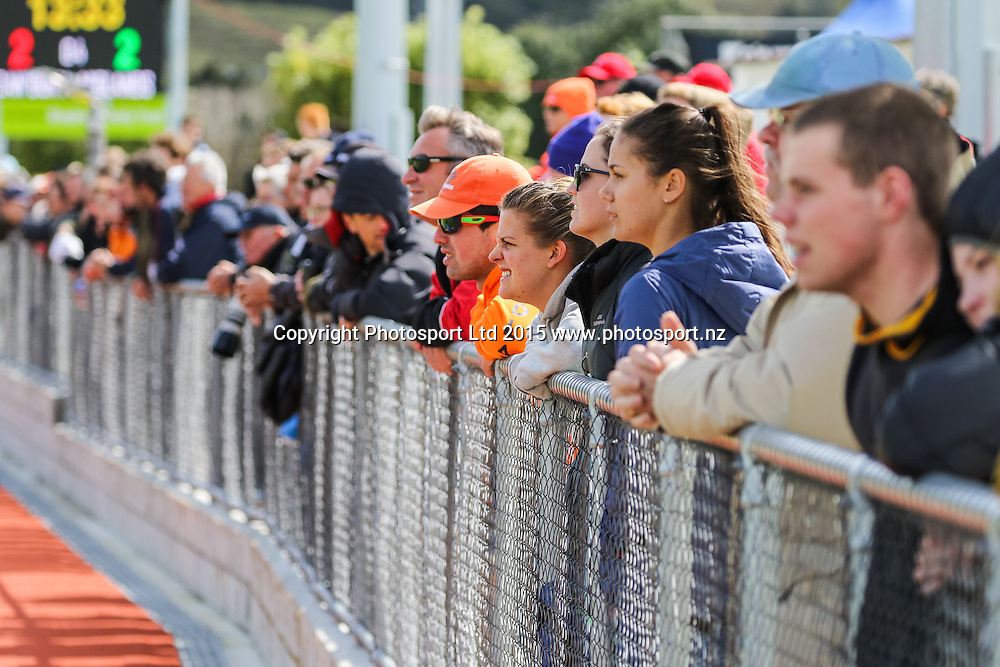Supporters look on. NHL Mens Hockey. Canterbury v Midlands. Whangarei. New Zealand. 13 September 2015. Copyright Photo: Heath Johnson / www.photosport.nz