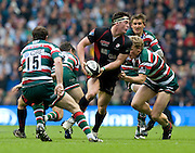 Saracens Flanker Andy Saull makes ground during the Guinness Premiership final 2010 between Leicester Tigers and Saracens at Twickenham Stadium, London, England. May 29th, 2010. .