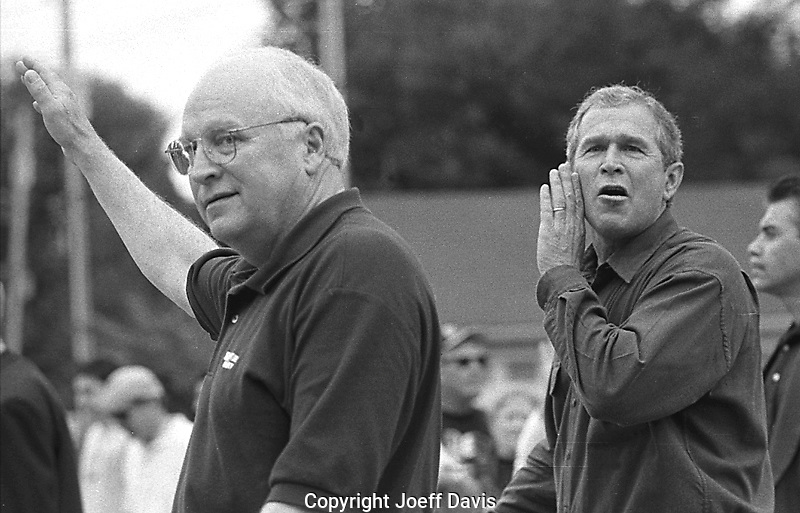 NAPERVILLE, ILLINOIS - September 4, 2000: Republican Presidential candidate George W. Bush and Vice Presidential candidate Dick Cheney campaigning for the 2000 Bush/Cheney ticket at the Naperville, Illinois Labor Day parade.