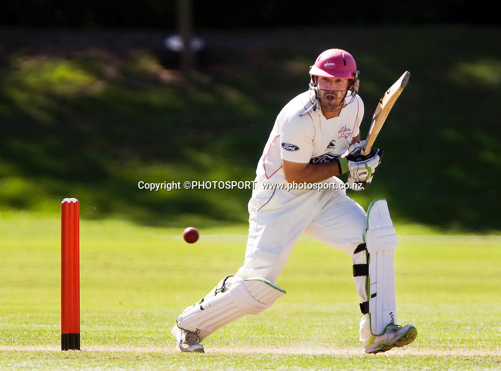Shannon Stewart during his innings for Canterbury. Canterbury Wizards v Wellington Firebirds, Plunket Shield Game held at Mainpower Oval, Rangiora, Wednesday 16 March 2011. Photo : Joseph Johnson / photosport.co.nz