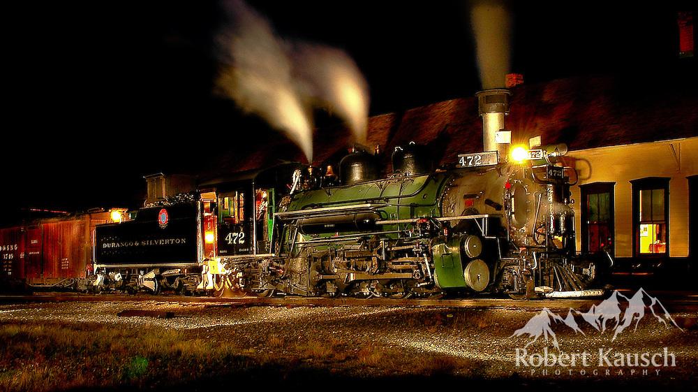 An unusual night scene in at the Silverton Depot.