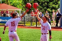 20 May 2019:  Derek Parola and Jordan Libman helmet bump to celebrate a home run b Derek Parola. Missouri Valley Conference Baseball Tournament - Southern Illinois Salukis v Illinois State Redbirds at Duffy Bass Field in Normal IL<br /> <br /> #MVCSPORTS