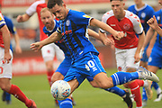 GOAL Ian Henderson shoots and scores - injury time equaliser during the EFL Sky Bet League 1 match between Fleetwood Town and Rochdale at the Highbury Stadium, Fleetwood, England on 18 August 2018.