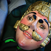 Historic masks used for festivals and celebrations in Chichicastengo. The town has become famous for its masks which depict a combination of indigenous characters as well as Catholic saints and Spanish conquistadors. Chichicastenango is an indigenous Maya town in the Guatemalan highlands about 90 miles northwest of Guatemala City and at an elevation of nearly 6,500 feet. It is most famous for its markets on Sundays and Thursdays.