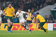Twickenham, Great Britain,    Jonny MAY looking for a way through during the Pool A game, England vs Australia.  2015 Rugby World Cup, Venue, RFU Stadium, Twickenham, Surrey, ENGLAND.  Saturday  03/10/2015<br /> Mandatory Credit; Peter Spurrier/Intersport-images]