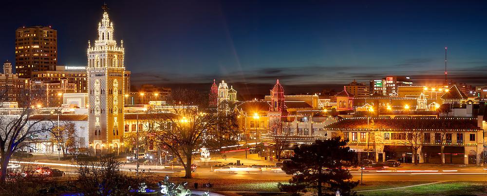 Panorama photo of Kansas City Plaza Lights, December 2015