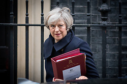 © Licensed to London News Pictures. 08/02/2017. London, UK. British Prime Minister Theresa May leaves Number 10 Downing Street to attend Prime Minister's Questions in Parliament. Photo credit : Tom Nicholson/LNP