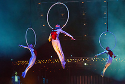© licensed to London News Pictures. London, UK 04/01/2014. Cirque du Soleil acrobats perform 'Aerial Hoops' act during the dress rehearsal of Cirque du Soleil's 'Quidam' at Royal Albert Hall in London on January 4, 2014. Photo credit: Tolga Akmen/LNP