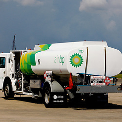 A Air BP fuel truck on the tarmac at the Lakefront Airport in New Orleans, Louisiana, U.S., on Monday, July 26, 2010.  below. Photographer: Derick E. Hingle