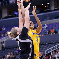 25 May 2014: Los Angeles Sparks forward/center Candace Parker (3) takes a jumpshot during the Los Angeles Sparks 83-62 victory over the San Antonio Stars, at the Staples Center, Los Angeles, California, USA.