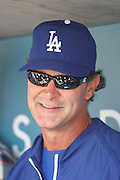 LOS ANGELES, CA - APRIL 29:  Manager Don Mattingly #8 of the Los Angeles Dodgers smiles as he talks to the media before the game against the Washington Nationals on Sunday, April 29, 2012 at Dodger Stadium in Los Angeles, California. The Dodgers won the game in a 2-0 shutout. (Photo by Paul Spinelli/MLB Photos via Getty Images) *** Local Caption *** Don Mattingly