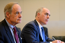 Senators Bob Casey, D-Pa and Tom Carper, D-De listen to representatives from the community in a roundtable discussion on the per- and polyfuoroalkyl substances or PFAS pollution crisis in the region, at Horsham Township Library, in Horsham, PA, on April 8, 2019. The health crisis affects tens of thousands of residents in Bucks and Montgomery Counties in Eastern Pennsylvania.