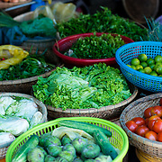 Fresh produce at market stall in Hue