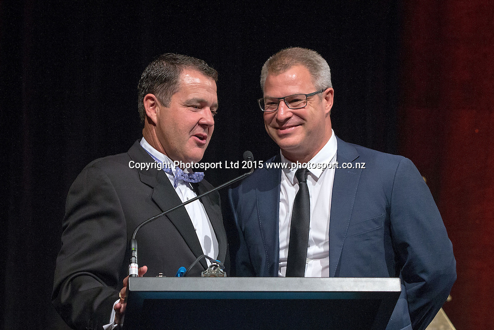 Andrew Dewhurst, left, and Head Coach Dean Vickerman speak at the SkyCity Breakers Awards, 2014-15, SkyCity Convention Centre, Auckland, New Zealand, Friday, March 20, 2015. Copyright photo: David Rowland / www.photosport.co.nz