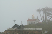 Battery Point Lighthouse in fog, Crescent City, California