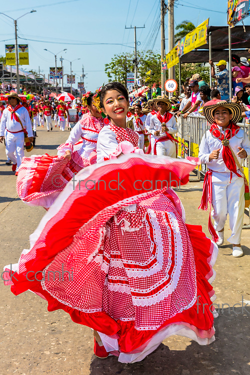 Barranquilla , Colombia  - February 26, 2017 : people participating at the parade of the carnival festival of  Barranquilla Atlantico Colombia