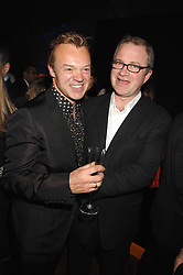 Left to right, GRAHAM NORTON and HARRY ENFIELD at 'Figures of Speech' a fundraising gala dinner in aid of the ICA held at the Lawrence Hall, Greycoat Street, London on 27th February 2008.<br />