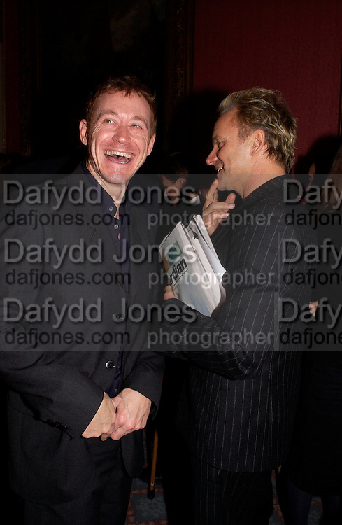 Travis Swords and Sting, Literary Review Bad Sex in Fiction Award. In and Out Club, St. James, Sq. 3 December 2003. © Copyright Photograph by Dafydd Jones 66 Stockwell Park Rd. London SW9 0DA Tel 020 7733 0108 www.dafjones.com