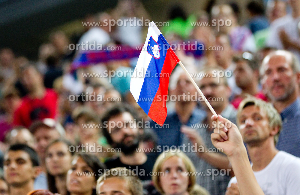 Spectators during friendly match before Eurobasket Lithuania 2011 between National teams of Slovenia and Lithuania, on August 24, 2011, in Arena Stozice, Ljubljana, Slovenia. Slovenia defeated Lithuania 88-66. (Photo by Vid Ponikvar / Sportida)