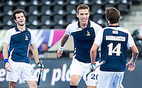 LONDON -  Unibet Eurohockey Championships 2015 in  London.  Russia v France. Victor Charlet  (m) from France scored 1-1. , and celebrates with  Jean-Laurent Kieffer  (l) and Gaspard Baumgarten (r) .  WSP Copyright  KOEN SUYK