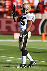 September 20, 2010; San Francisco, CA, USA;  New Orleans Saints running back Reggie Bush (25) warms up before the game against the San Francisco 49ers at Candlestick Park. New Orleans defeated San Francisco 25-22.