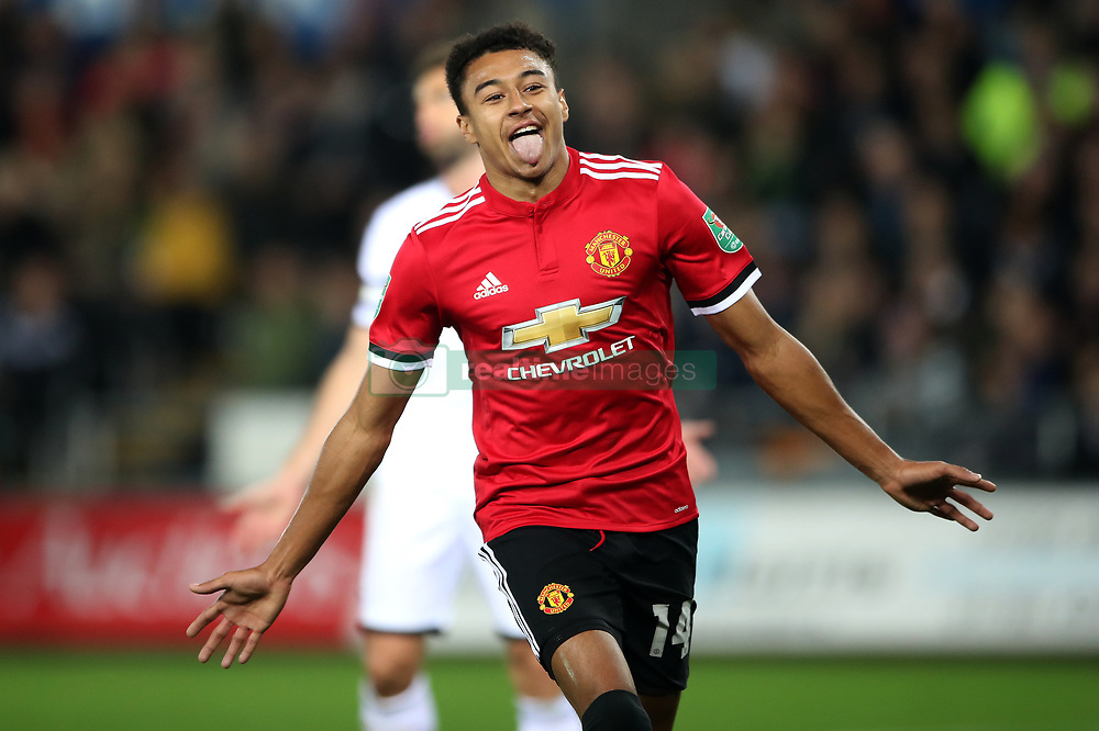Manchester United's Jesse Lingard scores his side's second goal of the game during the Carabao Cup, Fourth Round match at the Liberty Stadium, Swansea.