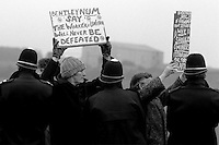 Miners from Bentley Colliery, Doncaster picket at Thoresby Colliery, Notts during the 1984 miners strike...© Martin Jenkinson  NUJ recommended terms & conditions apply. Copyright Designs & Patents Act 1988. Moral rights asserted credit required. No part of this photo to be stored, reproduced, manipulated or transmitted by any means without prior written permission.