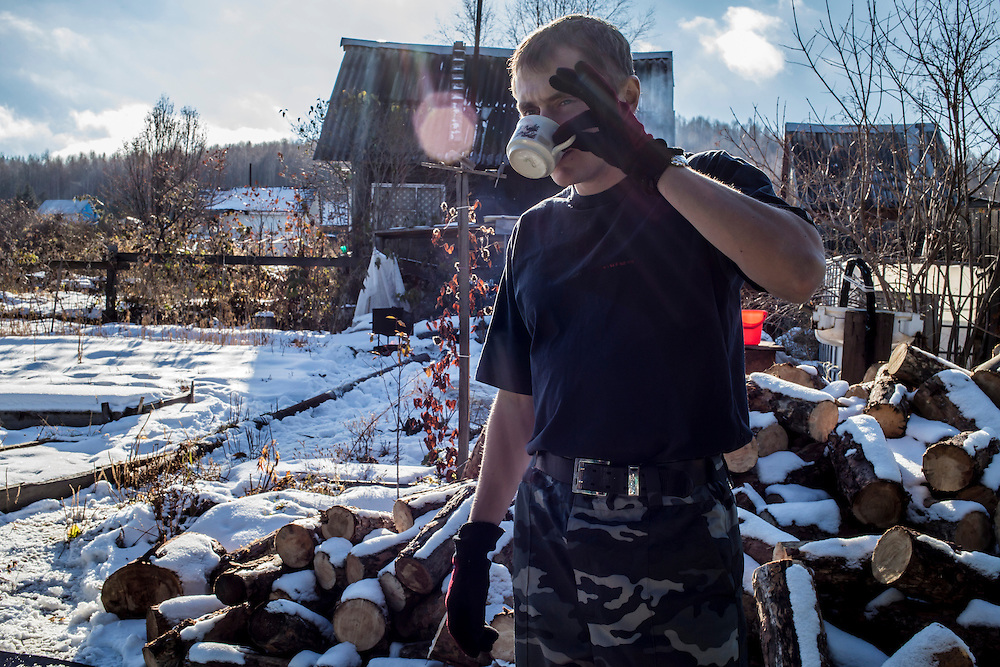 Vadim Kovalenko drinks tea at his dacha on Sunday, October 27, 2013 in Baikalsk, Russia.