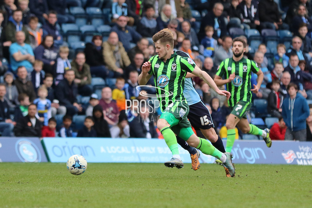Jake Reeves midfielder for AFC Wimbledon (8) during the Sky Bet League 2 match between Wycombe Wanderers and AFC Wimbledon at Adams Park, High Wycombe, England on 2 April 2016. Photo by Stuart Butcher.