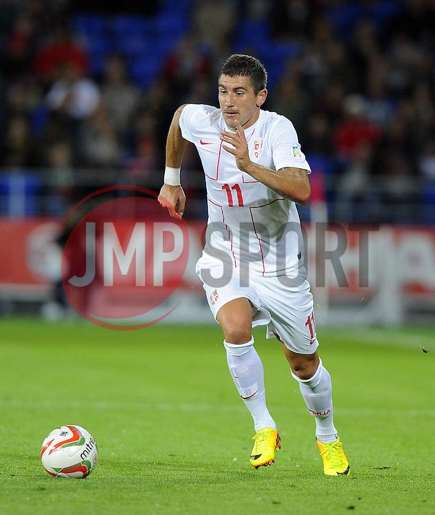 Aleksandar Kolarov of Serbia (Manchester City)  - Photo mandatory by-line: Joe Meredith/JMP - Tel: Mobile: 07966 386802 10/09/2013 - SPORT - FOOTBALL - Cardiff City Stadium - Cardiff -  Wales V Serbia- World Cup Qualifier