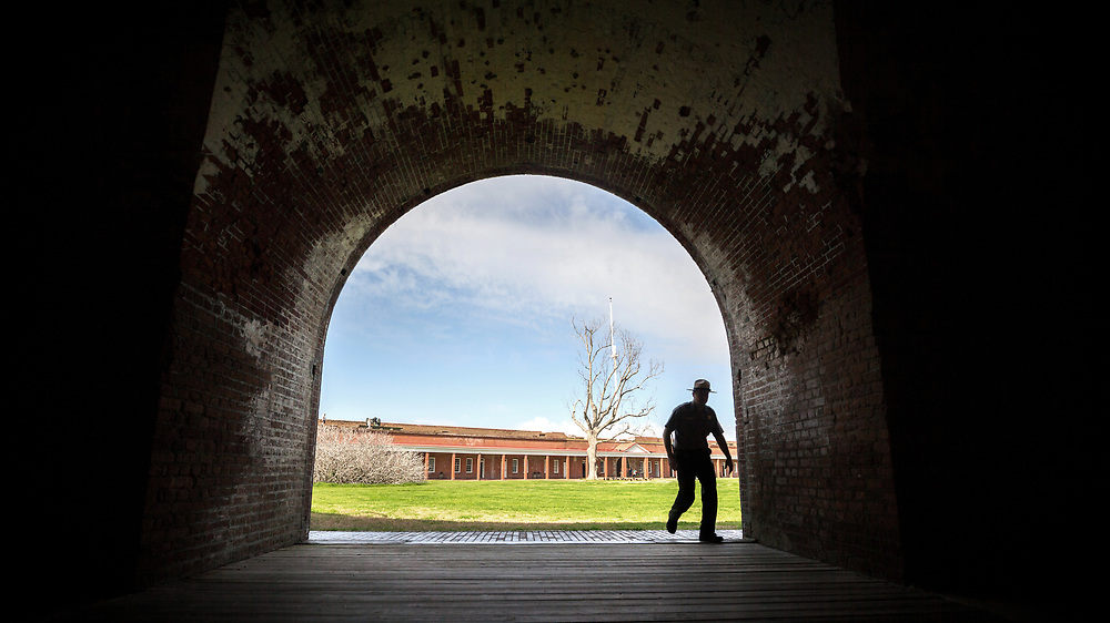 COCKSPUR ISLAND, GA. - FEBRUARY 21, 2018: National Park Service Fort Pulaski National Monument Chief of Interpretations Joel Cadoff tours the historic fort near Tybee Island. (WABE Photo/Stephen B. Morton)