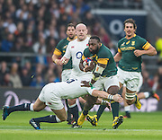 Twickenham, United Kingdom. Full Back, Mike BROWN, goes into a low tackle on RSA prop, Tendia MTAWARIRA, during the   Old Mutual Wealth Series match: England vs South Africa, at the RFU Stadium, Twickenham, England, Saturday, 12.11.2016<br /> <br /> [Mandatory Credit; Peter Spurrier/Intersport-images]
