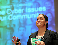 NEWTOWN, PA - APRIL 29: Kristina Dorville of the National Cyber Security Division of the Department of Homeland Security addresses security issues associated with using social media and sharing information online at Bucks County Community College April 29, 2014 in Newtown, Pennsylvania. (Photo by William Thomas Cain/Cain Images)