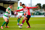 Exeter City's Ollie Watkins during the Sky Bet League 2 match between Yeovil Town and Exeter City at Huish Park, Yeovil, England on 9 April 2016. Photo by Graham Hunt.