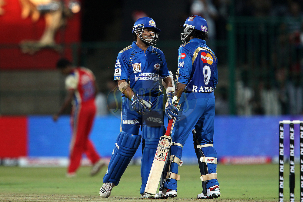 Sachin Tendullkar and Ambati Rayudu during match 8 of the the Indian Premier League ( IPL ) Season 4 between the Royal Challengers Bangalore and the Mumbai Indians held at the Chinnaswamy Stadium, Bangalore, Karnataka, India on the 12th April 2011..Photo by Ron Gaunt/BCCI/SPORTZPICS