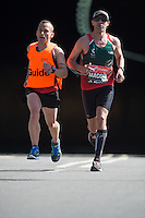 IPC Marathon Gabriel Macchi<br /> Athletes appear from the tunnel at the north end of Blackfriars Brdige during the Virgin Money London Marathon 2014 on Sunday 13 April 2014<br /> Photo: Paul Gregory/Virgin Money London Marathon<br /> media@london-marathon.co.uk