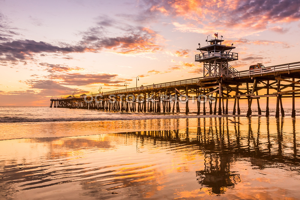 Fall Sunset and Low Tide at San Clemente Pier