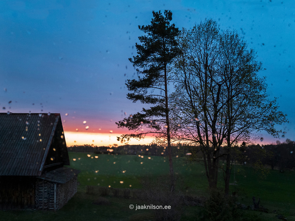 Raindrops on glass. Night view through window. Old barn, trees, sunset.