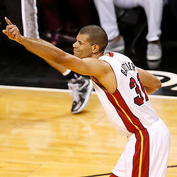 Jun 20, 2013; Miami, FL, USA; Miami Heat small forward Shane Battier (31) reacts after hotting a three-point shot against the San Antonio Spurs during the second quarter of game seven in the 2013 NBA Finals at American Airlines Arena. Mandatory Credit: Derick E. Hingle-USA TODAY Sports